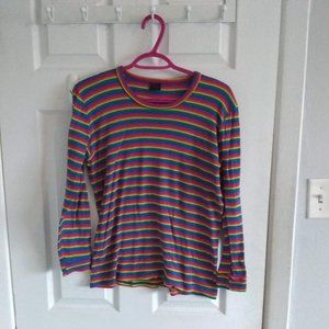 Vintage stretchy rainbow striped top long sleeve🌈